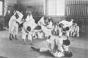A jiu jitsu school in Japan in the 1920s.
